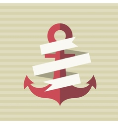 card with an anchor and a tape vector image
