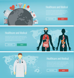 Medical banners set healthcare and medical vector