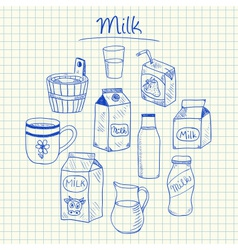 Milk doodles squared paper vector