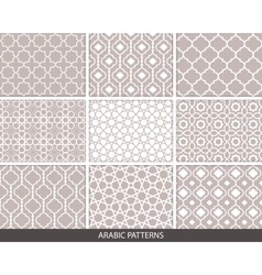 Set of nine Arabic patterns vector image