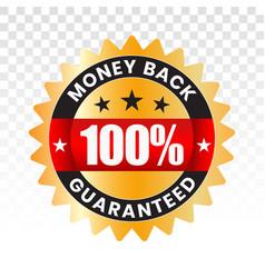 100 percent money back label flat icon vector