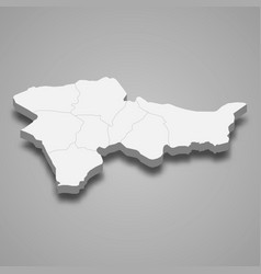 3d isometric map agri is a province turkey vector