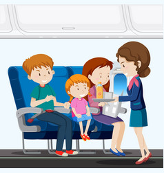 A family on airplane vector