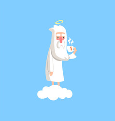 Adorable cartoon god character standing on white vector