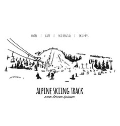alpine skiing track sketch for your design vector image