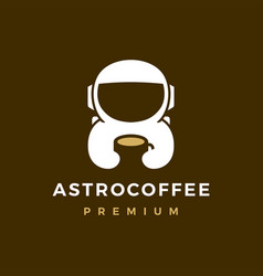 Astronaut coffee logo icon vector