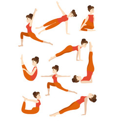 athletic young girl doing yoga stands in the pose vector image