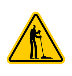 attention cleaner caution janitor yellow triangle vector image