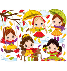 autumn set with cute little girls vector image