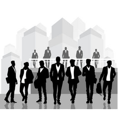 black silhouettes of young men vector image