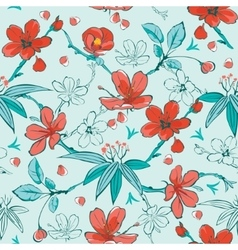 Blue Red Japanese Flowers Seamless Pattern vector