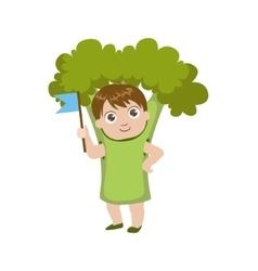 Boy Dressed As Broccoli vector