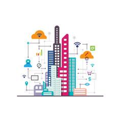 Business social internet city vector