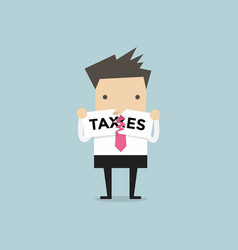 businessman teared taxes paper vector image