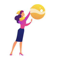 businesswoman holding big christmas tree ball vector image