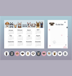 calendar with dogs planner template vector image
