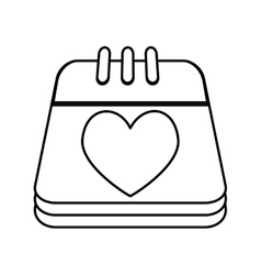 calendar with heart isolated icon vector image