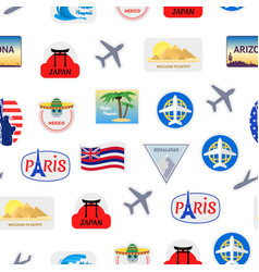 cartoon color travel stickers suitcase seamless vector image