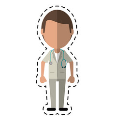 cartoon doctor medical stethoscop vector image