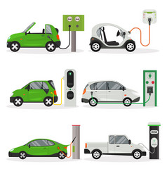 cartoon electric car different design icon set vector image