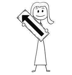 Cartoon of businesswoman or woman holding arrow vector