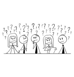 Cartoon of group of business people thinking with vector
