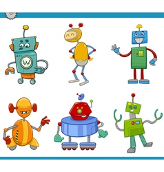 cartoon robot characters set vector image