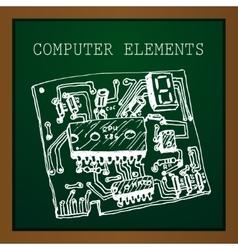 Chalk draw computer element on blackboard vector
