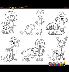children and dog characters coloring book vector image
