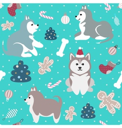 Christmas seamless pattern with cute husky dogs vector