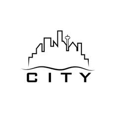 city skyline design template vector image