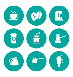 Coffee Icons Flat design style vector image