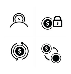Coins lock change refresh design vector