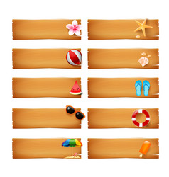 Collection of blank wood banner with summer icon vector