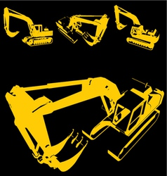 construction machine silhouette vector image