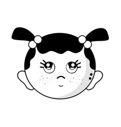 Contour cute baby girl head with hairstyle design vector