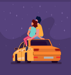 couple sitting on car roat night looking stars vector image