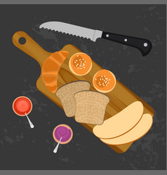 croissant bread and bun vector image