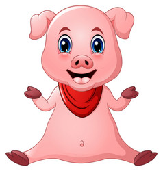 Cute pig cartoon sitting vector