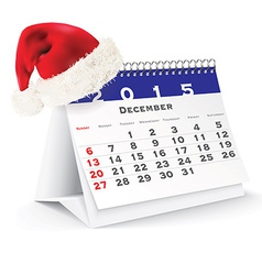 December 2015 desk calendar with Christmas hat vector