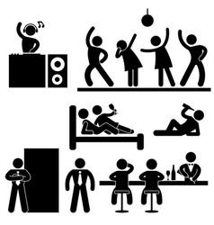 Disco pub night club bar party icon symbol sign vector