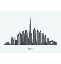 Dubai skyline silhouette vector image