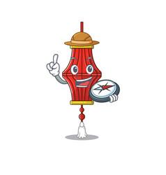 Explorer chinese paper lanterns cartoon character vector
