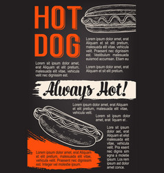 Fast food hot dog sketch poster vector