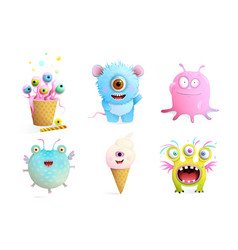 Fictional monsters characters collection for kids vector