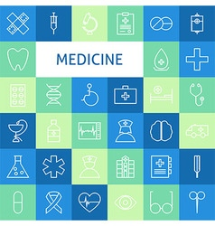 Flat Line Art Modern Medicine and Healthy Life vector