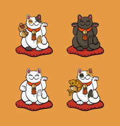 four lucky cats with lucky attributes vector image