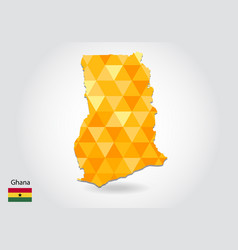 geometric polygonal style map of ghana low poly vector image