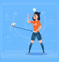 Girl stream modern video blog with cell smart vector