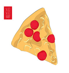 hand drawn pizza poster fast food mozarella vector image